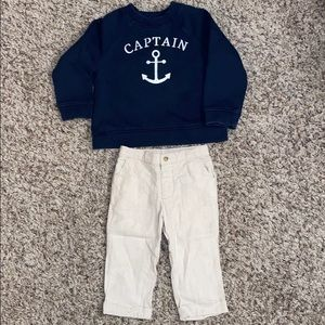 Janie and Jack 3T Captain Sweatshirt & Pant Outfit